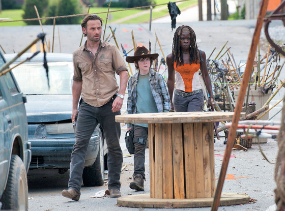 Rick, Carl, and Michonne in The Walking Dead